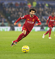 26th December 2019; King Power Stadium, Leicester, Midlands, England; English Premier League Football, Leicester City versus Liverpool; Mohamed Salah of Liverpool chasing down a loose ball - Strictly Editorial Use Only. No use with unauthorized audio, video, data, fixture lists, club/league logos or 'live' services. Online in-match use limited to 120 images, no video emulation. No use in betting, games or single club/league/player publications