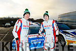 Navigator, Paul Nagle from Killarney, left, with Craig Breen from Waterford at the final control in Oranmore, after winning the Galway International Rally last weekend in a Ford Fiesta R5. Both competed at a professional level with Citreon in the World Rally Championship for the last couple of years.
