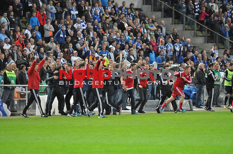 01.06.2015, Wildparkstadion, Karlsruhe, GER, Relegation, Karlsruher SC vs. Hamburger SV, im Bild: Jubel beim HSV<br /> <br /> Foto &copy; nordphoto / Fabisch