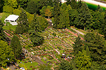 Aerial of the International Rose Test Garden, Washington Park, Portland, Oregon