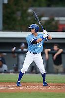 Tanner Stanley (33) of the Burlington Royals at bat against the Pulaski Yankees at Burlington Athletic Park on August 6, 2015 in Burlington, North Carolina.  The Royals defeated the Yankees 1-0. (Brian Westerholt/Four Seam Images)