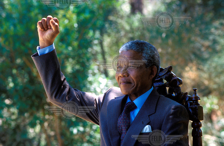 Nelson Mandela at Archbishop Desmond Tutu's official residence in Bishopscourt, Cape Town, a day after Mandela's release from 27 years in prison.