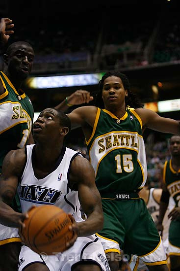 Salt Lake City - Utah Jazz vs. Seattle Supersonics, Saturday, December 15, 2007, at EnergySolutions Arena. Utah Jazz forward Paul Millsap (24)