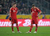 FUSSBALL   1. BUNDESLIGA  SAISON 2011/2012   18.  Spieltag   20.01.2012 Borussia Moenchengladbach   - FC Bayern Muenchen  Enttaeuschung FC Bayern; Toni Kroos (li) und  Bastian Schweinsteiger