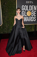 Nominated for BEST PERFORMANCE BY AN ACTRESS IN A TELEVISION SERIES &ndash; COMEDY OR MUSICAL for her role in &quot;GLOW,&quot; actress Alison Brie arrives at the 75th Annual Golden Globe Awards at the Beverly Hilton in Beverly Hills, CA on Sunday, January 7, 2018.<br /> *Editorial Use Only*<br /> CAP/PLF/HFPA<br /> &copy;HFPA/Capital Pictures