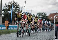 peloton riding the cobbles.<br /> <br /> 103th Kampioenschap van Vlaanderen 2018 (UCI 1.1)<br /> Koolskamp &ndash; Koolskamp (186km)