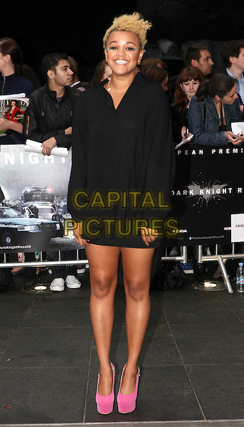 Gemma Cairney.'The Dark Knight Rises' European premiere at Odeon Leicester Square cinema, London, England..18th July 2012.full length black dress pink suede shoes platform  .CAP/ROS.©Steve Ross/Capital Pictures.