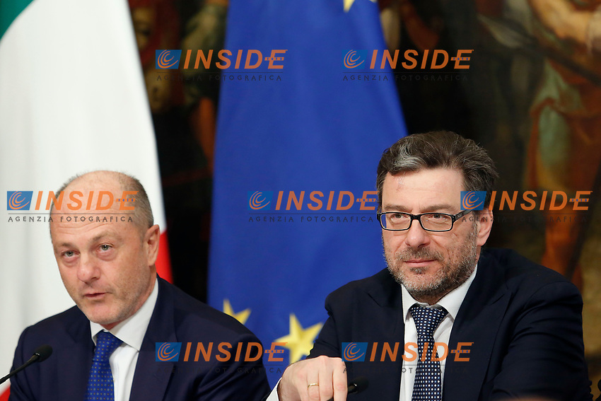 President of Italian Tennis Federation Angelo Binaghi, Undersecretary Giancarlo Georgetti<br /> Rome April 11th 2019. Palazzo Chigi. Presentation of the 76° edition of International BNL of Italy tennis tournament.<br /> photo di Samantha Zucchi/Insidefoto