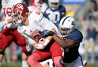 STATE COLLEGE, PA - SEPTEMBER 30:  Penn State LB Jason Cabinda (40) sacks Indiana QB Richard Lagow (21). The Penn State Nittany Lions defeated the Indiana Hoosiers 45-14 on September 2, 2017 at Beaver Stadium in State College, PA. (Photo by Randy Litzinger/Icon Sportswire)