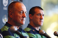 PICTURE BY SIMON WATTS/photosport.co.nz - Rugby League - Anzac Test - New Zealand and Australia Press Conference - Eden Park, Auckland, New Zealand - 19/04/12 - Australian Head Coach Tim Sheens and player Paul Gallen - Copyright - Photosport NZ/SWpix.com...