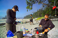 Nootka Island, British Columbia, Canada, August 2006. As the morning fog lifts from third beach, we relax in the sun and cook lunch on the first day.Trekking the Nootka trail takes hikers through dense rainforest and along beaches full of marine life. Photo by Frits Meyst/Adventure4ever.com.