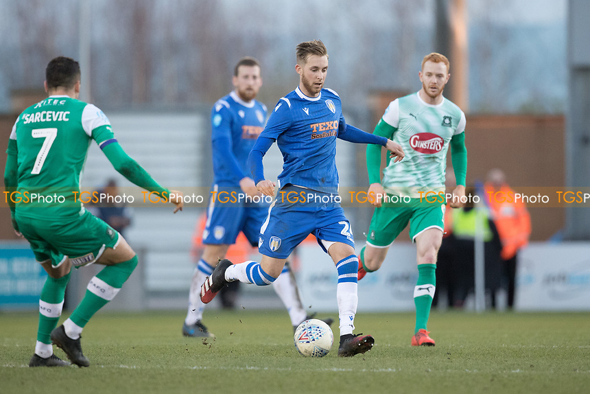 Ben Stevenson of Colchester United lays the ball out wide during Colchester United vs Plymouth Argyle, Sky Bet EFL League 2 Football at the JobServe Community Stadium on 8th February 2020