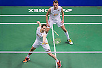 Mathias Boe and Carsten Mogensen of Denmark compete against Ong Yew Sin and Teo Ee Yi of Malaysia during the Men's Doubles' Quarter-final match of the YONEX-SUNRISE Hong Kong Open Badminton Championships 2016 at the Hong Kong Coliseum on 25 November 2016 in Hong Kong, China. Photo by Marcio Rodrigo Machado / Power Sport Images