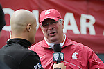 Bill Moos being interviewed by the Pac-12 Network during the 2013 Washington State Crimson and Gray game on Saturday, April 20th, at Joe Albi Stadium in Spokane, Washington.