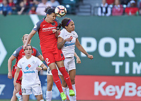 Portland, OR - Wednesday June 28, 2017: Christine Sinclair, Sydney Leroux during a regular season National Women's Soccer League (NWSL) match between the Portland Thorns FC and FC Kansas City at Providence Park.