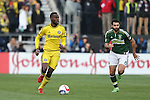 06 December 2015: Columbus's Tony Tchani (CMR) (6) and Portland's Diego Valeri (ARG) (8). The Columbus Crew SC hosted the Portland Timbers FC at Mapfre Stadium in Columbus, Ohio in MLS Cup 2015, Major League Soccer's championship game. Portland won the game 2-1.