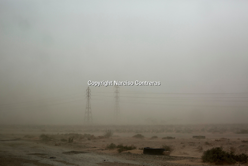 Friday 20, May 2016: A sand storm along the highway to Abugrein during the ongoing fighting against IS (iSlamic State) in Libya.