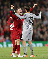 Liverpool's Jordan Henderson (left) and Alisson Becker celebrate victory at the final whistle<br /> <br /> Photographer Rich Linley/CameraSport<br /> <br /> UEFA Champions League Semi-Final 2nd Leg - Liverpool v Barcelona - Tuesday May 7th 2019 - Anfield - Liverpool<br />  <br /> World Copyright © 2018 CameraSport. All rights reserved. 43 Linden Ave. Countesthorpe. Leicester. England. LE8 5PG - Tel: +44 (0) 116 277 4147 - admin@camerasport.com - www.camerasport.com