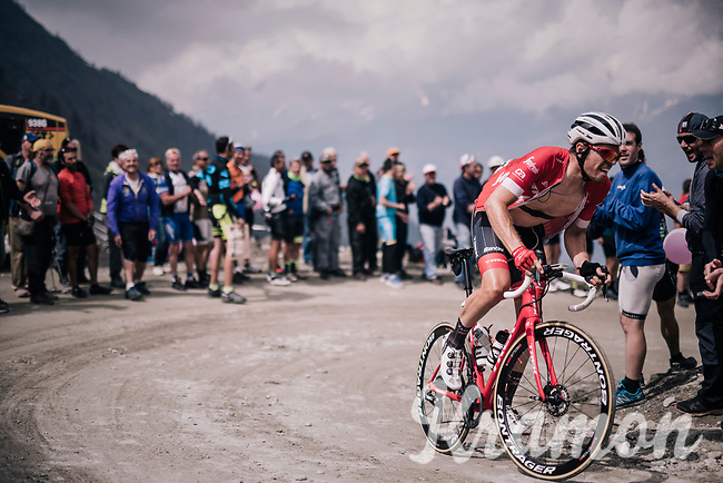 Boy Van Poppel (NED/Trek Segafredo) up the gravel roads of the Colle delle Finestre <br /> <br /> stage 19: Venaria Reale - Bardonecchia (184km)<br /> 101th Giro d'Italia 2018
