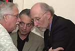 John Cornell, Jeff Schamberry and Jim Dooley seen at John Cornell's retirement party  on October 10, 2000. Photo by Jim Peppler. Copyright/Jim Peppler-2000
