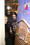 Cate Blanchett, Lin-Manuel Miranda and Josh Groban during the cast of 'Hamilton' 2016 Door Decorating Competition at Richard Rodgers Theatre on December 23, 2016 in New York City.