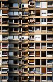 SERBIA, Belgrade, Old apartment building balconies in Novi Beograd or New Belgrade, Eastern Europe