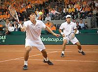 20-9-08, Netherlands, Apeldoorn, Tennis, Daviscup NL-Zuid Korea, Dubbles match:  HyungTaik Lee and WongSun Jun(L)