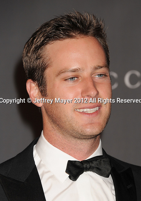 LOS ANGELES, CA - OCTOBER 27: Armie Hammer  arrives at LACMA Art + Film Gala at LACMA on October 27, 2012 in Los Angeles, California.