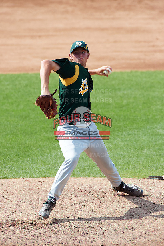Zachary Farmer #38 of Piketon High School in Piketon, Ohio playing for the Oakland Athletics scout team during the East Coast Pro Showcase at Alliance Bank Stadium on August 4, 2012 in Syracuse, New York.  (Mike Janes/Four Seam Images)