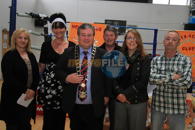 Catriona Culligan, Co-ordinator of DYD with Mayor Paul Bell and Moneymore Community House staff Amanda Moran, Brendan O'Reilly, Edel Fairclough and Ken Murphy at the Moneymore After Schools Club awards in the Boxing Club...(Photo credit should read Jenny Matthews www.newsfile.ie)....This Picture has been sent you under the conditions enclosed by:.Newsfile Ltd..The Studio,.Millmount Abbey,.Drogheda,.Co Meath..Ireland..Tel: +353(0)41-9871240.Fax: +353(0)41-9871260.GSM: +353(0)86-2500958.email: pictures@newsfile.ie.www.newsfile.ie.