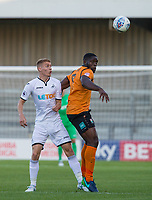 John Akinde of Barnet & Jay Fulton of Swansea City during the 2017/18 Pre Season Friendly match between Barnet and Swansea City at The Hive, London, England on 12 July 2017. Photo by Andy Rowland.