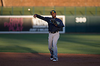 Seattle Mariners second baseman Jhombeyker Morales (12) during a Minor League Spring Training game against the Los Angeles Dodgers at Camelback Ranch on March 28, 2018 in Glendale, Arizona. (Zachary Lucy/Four Seam Images)