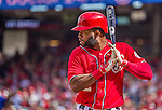 28 September 2014: Washington Nationals outfielder Denard Span looks down the pitcher in the third inning seconds before connecting with his 184th hit of the season during play against the Miami Marlins at Nationals Park in Washington, DC. The Nationals shut out the Marlins 1-0, caping the season with the first Nationals no-hitter in modern times. The win also notched a 96 win season for the Nats: the best record in the National League. Mandatory Credit: Ed Wolfstein Photo *** RAW (NEF) Image File Available ***
