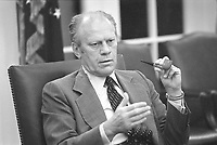 President Gerald R. Ford making a point in a National Security Council Meeting during the Mayaguez crisis.  13 May 1975