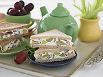 Cream cheese sandwiches with sliced grapes and nuts