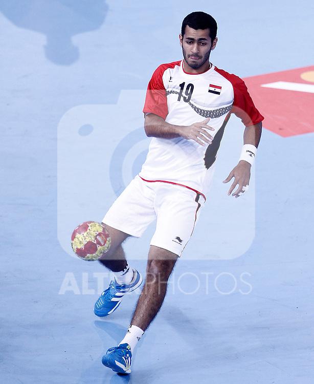 Egypt's Mohamed Hesham during 23rd Men's Handball World Championship preliminary round match.January 12 ,2013. (ALTERPHOTOS/Acero)