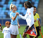 Captains Steph Houghton of Manchester City and Wendie Renard of Lyon shake hands during the Women's Champions League, Semi Final 1st leg match at the Academy Stadium, Manchester. Picture date 22nd April 2018. Picture credit should read: Simon Bellis/Sportimage