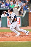 Southern Divisions catcher Scott Manea (25) of the Columbia Fireflies swings at a pitch during the South Atlantic League All Star Game at First National Bank Field on June 19, 2018 in Greensboro, North Carolina. The game Southern Division defeated the Northern Division 9-5. (Tony Farlow/Four Seam Images)
