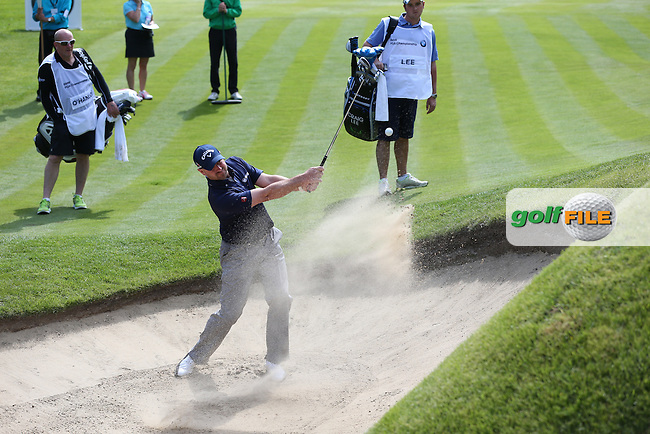 Craig Lee (SCO) in the bunker on the 16th during Round One of the 2015 BMW PGA Championship over the West Course at Wentworth, Virginia Water, London. 21/05/2015Picture David Lloyd, www.golffile.ie.