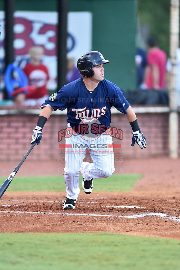 Elizabethton Twins designated hitter Mitchell Kranson (9) swings at a pitch during game against the Burlington Royals at Joe O'Brien Field on August 24, 2016 in Elizabethton, Tennessee. The Royals defeated the Twins 8-3. (Tony Farlow/Four Seam Images)