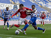Middlesbrough's Djed Spence (left) is tackled by Reading's Tyler Blackett (right) <br /> <br /> Photographer David Horton/CameraSport<br /> <br /> The EFL Sky Bet Championship - Reading v Middlesbrough - Tuesday July 14th 2020 - Madejski Stadium - Reading<br /> <br /> World Copyright © 2020 CameraSport. All rights reserved. 43 Linden Ave. Countesthorpe. Leicester. England. LE8 5PG - Tel: +44 (0) 116 277 4147 - admin@camerasport.com - www.camerasport.com