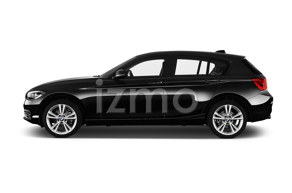 Car driver side profile view of a 2017 BMW 1-Series Sport 5 Door Hatchback