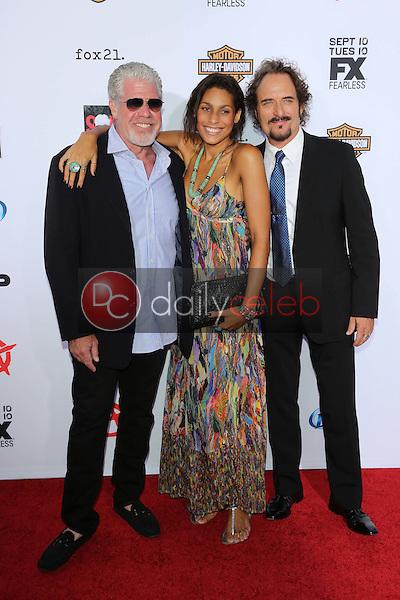 "Ron Perlman, Blake Perlman, Kim Coates<br /> at the ""Sons of Anarchy"" Season Six Premiere Screening, Dolby Theatre, Hollywood, CA 09-07-13<br /> David Edwards/Dailyceleb.com 818-249-4998"