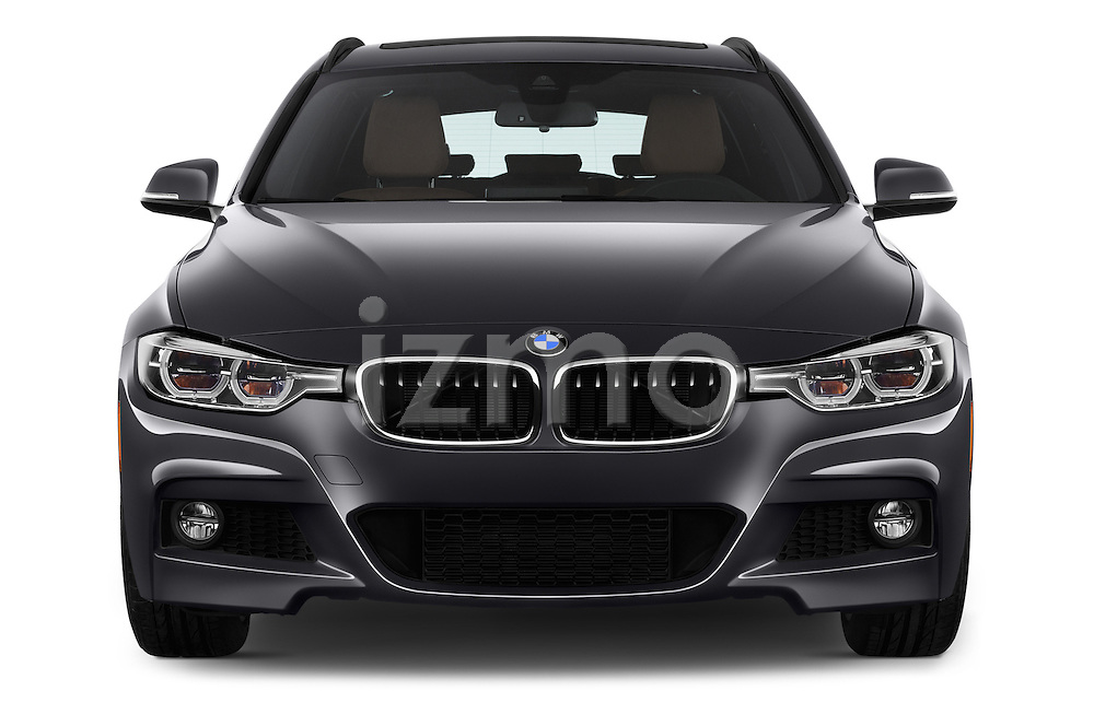 Car photography straight front view of a 2017 BMW 3-Series 330i-Sports-Wagon 5 Door Wagon Front View