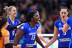 11.05.2019, Scharrena, Stuttgart<br />Volleyball, Bundesliga Frauen, Play-offs Finale, 5. Spiel, Allianz MTV Stuttgart vs. SSC Palmberg Schwerin<br /><br />Jubel Jana Franziska Poll (#9 Stuttgart), Krystal Rivers (#13 Stuttgart), Mallory Grace McCage (#5 Stuttgart)<br /><br />  Foto © nordphoto / Kurth