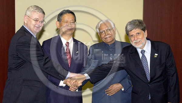 Brussels-Belgium - 22 June 2005---Germany, Japan, India and Brazil join their efforts to obtain permanent membership of the Security Council of the United Nations; here, the Foreign Ministers meet for further coordination, at the Japanese Representation ---Photo: Horst Wagner/eup-images