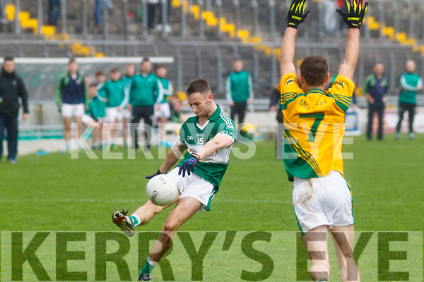 Anto Kelliher of Listry in action against  Castlegregory in the Kerry County Junior Championship on Sunday in Austin Stack Park on Sunday.
