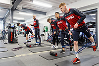 (L-R) Ki Sung-Yueng, Oliver McBurnie, Jay Fulton, Matrin Olsson and Sam Clucas exercise in the gym during the Swansea City Training at The Fairwood Training Ground, near Swansea, Wales, UK. Friday 19 January 2018