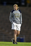 22 October 2015: Notre Dame head coach Theresa Romagnolo. The University of North Carolina Tar Heels hosted the Notre Dame University Fighting Irish at Fetzer Field in Chapel Hill, NC in a 2015 NCAA Division I Women's Soccer game. UNC won the game 2-1.