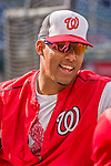 22 May 2015: Washington Nationals infielder Yunel Escobar smiles during stretching exercises prior to a game against the Philadelphia Phillies at Nationals Park in Washington, DC. The Nationals defeated the Phillies 2-1 in the first game of their 3-game weekend series. Mandatory Credit: Ed Wolfstein Photo *** RAW (NEF) Image File Available ***